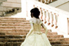 Bride walks the stairs